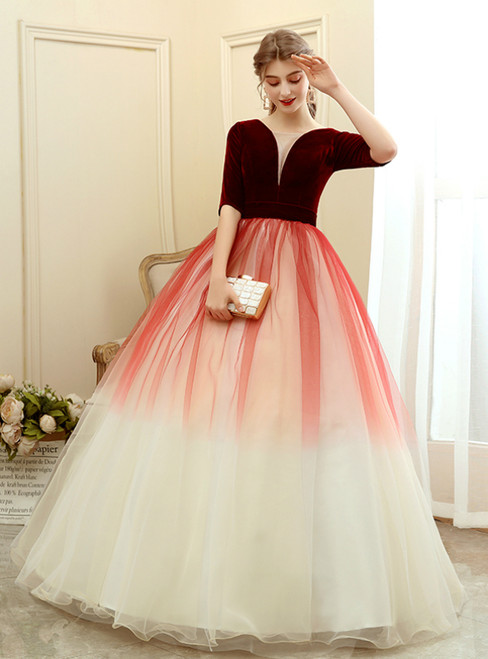 In Stock:Ship in 48 Hours Burgundy Tulle Velvet Short Sleeve Quinceanera Dress