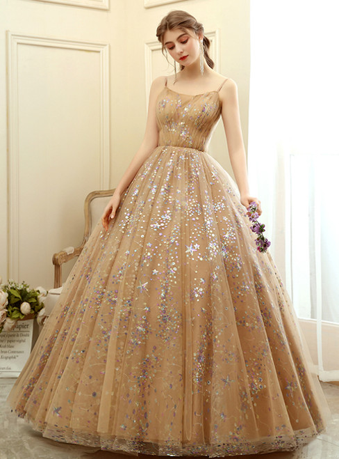 In Stock:Ship in 48 Hours Khaki Tulle Sequins Spaghetti Straps Quinceanera Dress