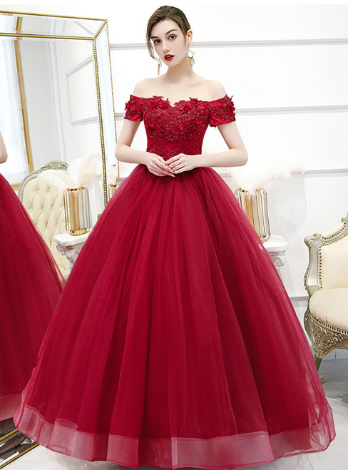 Individually Cut In Stock:Ship in 48 Hours Burgundy Tulle Appliques Beading Quinceanera Dress