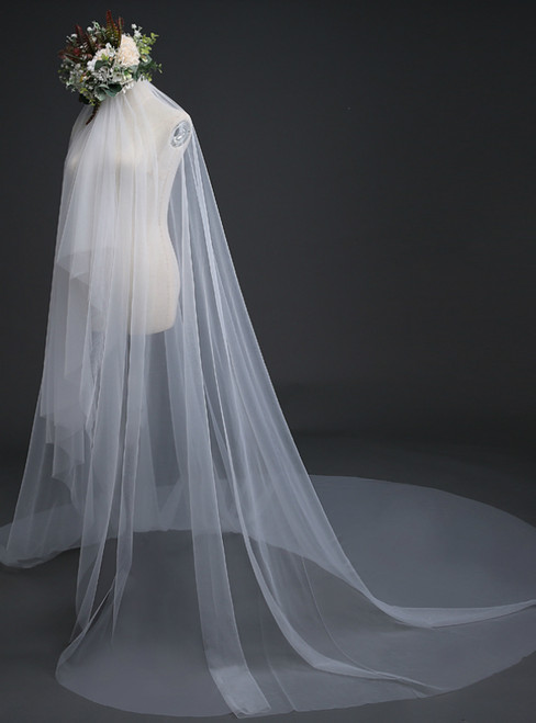 In Stock:Ship in 48 Hours Simple White Tulle Wedding Veil