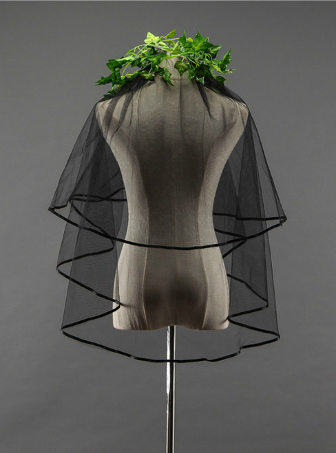 In Stock:Ship in 48 Hours Black Tulle Simple Short Wedding Veil