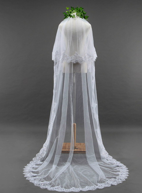 In Stock:Ship in 48 Hours Ivory Sequined Lace Wedding Veil