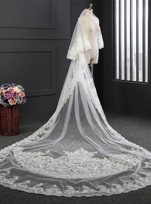 In Stock:Ship in 48 Hours Ivory Tulle Lace Appliques Long Wedding Veil