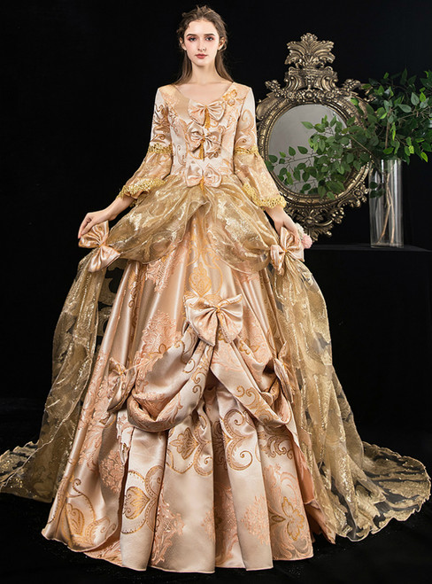 Gold Ball Gown Long Sleeve Embroidery Drama Show Vintage Gown Dress