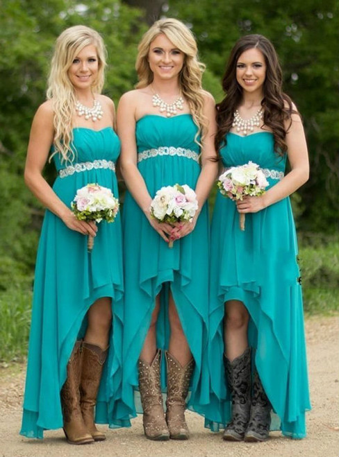 High-Low Chiffon Strapless Long Bridesmaid Dresses Beading A-line Wedding Party