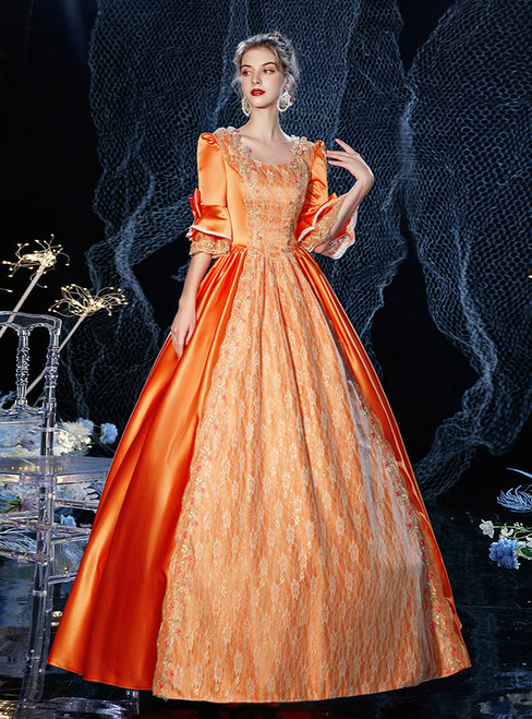 Orange Satin Lace Short Sleeve Drama Show Vintage Gown Dress
