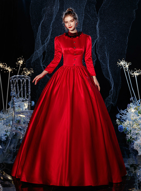 Burgundy Ball Gown Satin Long Sleeve Lace Drama Show Vintage Gown Dress