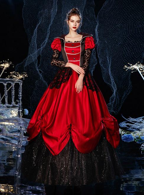Burgundy Satin Black Sequins Long Sleeve Halloween Drama Show Vintage Gown Dress