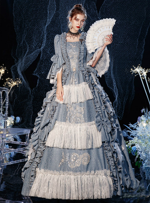 Blue Gray Lace Long Sleeve Victorian Dress Party Costume Masquerade