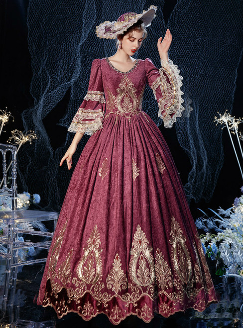 Lace Appliques Long Sleeve Maria Antonietta Rococo Vintage Gown Dress