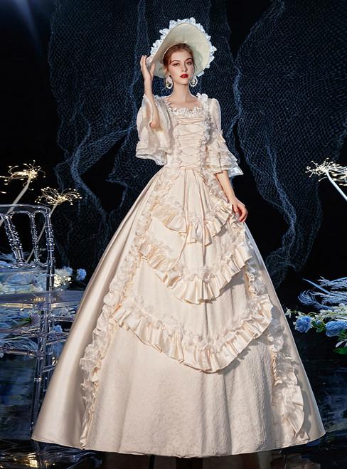 Champagne Satin Half Sleeve Ruffles Rococo Baroque Victorian Dress
