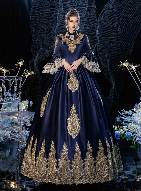 Navy Blue Satin Appliques Long Sleeve Antonietta Rococo Baroque Victorian Dress