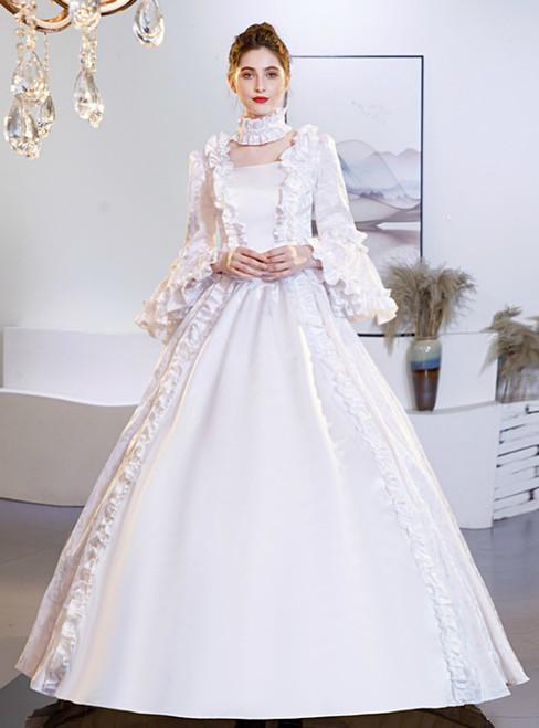 White Satin Long Sleeve Victorian Costume Masquerade Dress