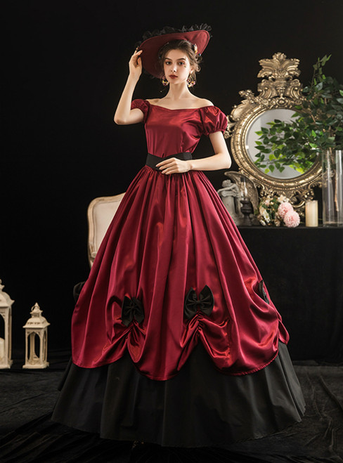 Dark Burgundy Satin Square Antonietta Rococo Vintage Gown Dress