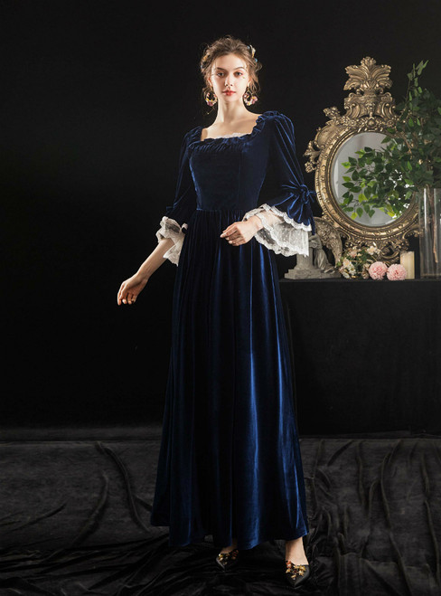 Navy Blue Velvet Long Sleeve Square Baroque Victorian Party Dress