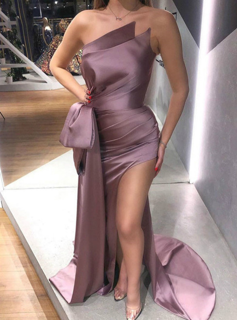 The Best Discount Pink Purple Mermaid Satin Strapless Pleats Prom Dress With Split