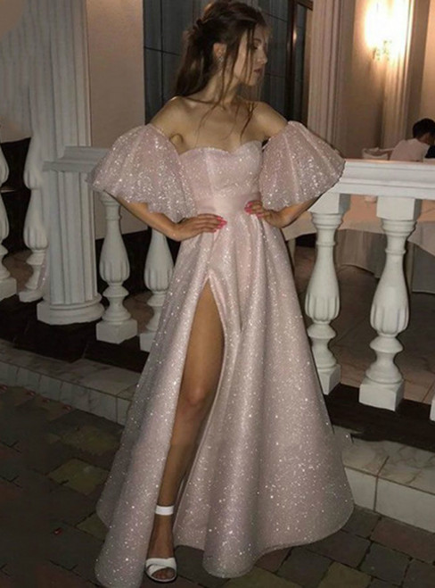 The Cheap Price Pink Tulle Sequins Off the Shoulder Prom Dress With Split