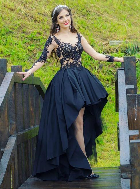 Brand New Black Hi Lo Satin Long Sleeve Appliuqes Beading Prom Dress
