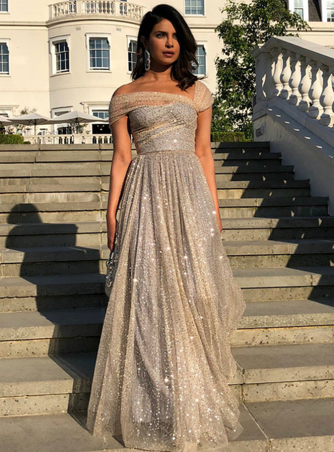 Find And Buy The Perfect A-Line Gray And Gold Tulle Sequins Off the Shoulder Prom Dress