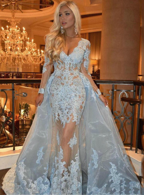 Shop Long Blue Tulle Lace Appliques V-neck Long Sleeve Prom Dress