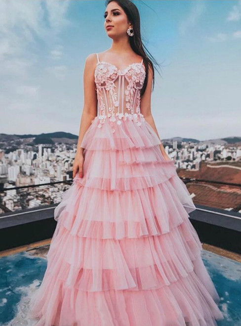 Buy The Newest A-Line Pink Tulle Appliques Spaghetti Straps Tiers Prom Dress
