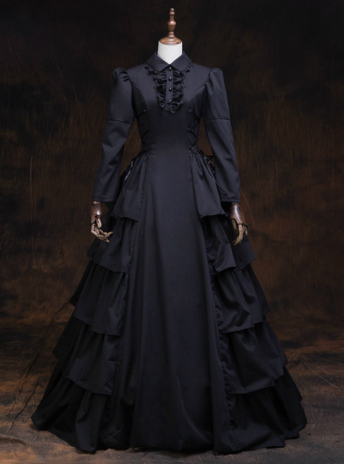 Shop Designer Black Long Sleeve High Neck Rococo Baroque Vintage Gown Dress