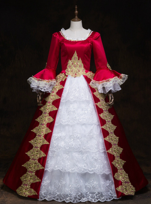 Never Miss Out On Burgundy Satin Lace Long Sleeve Sequins Appliques Victorian Party Costume Dress