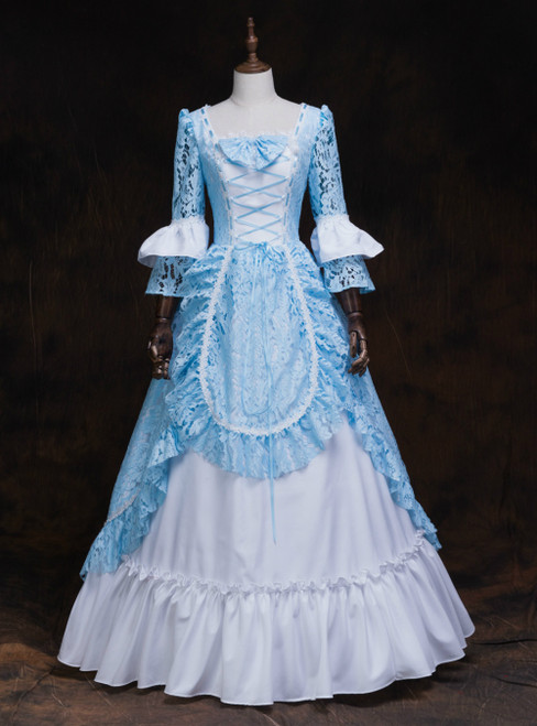 Find The Perfect Shade Of Blue Lace White Satin Square Long Sleeve Victorian Dress Party Dress