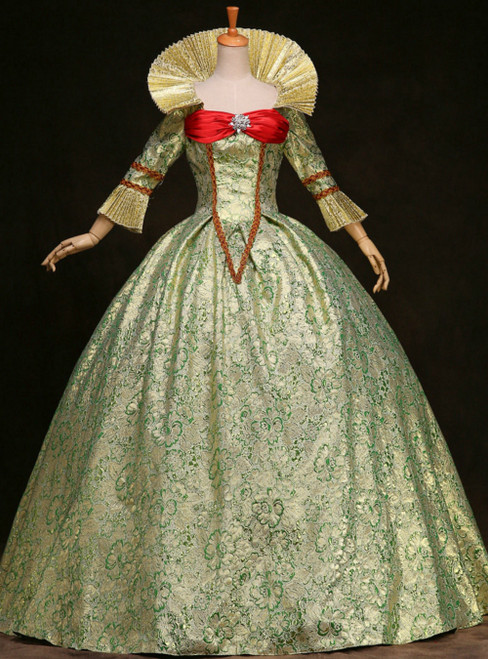 Buy From Green Ball Gown 3/4 Sleeve Big Collar Baroque Victorian Dress