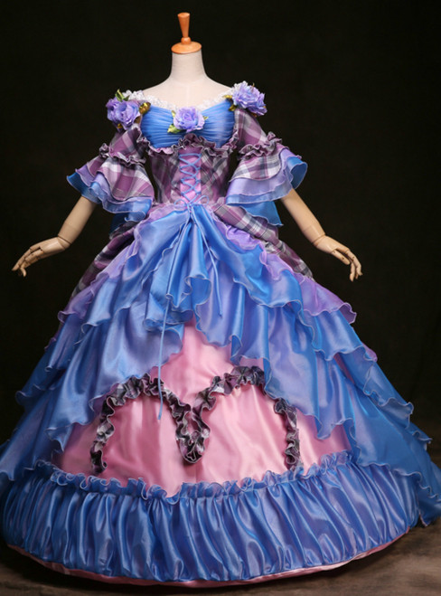 Purchase Your Favorite Blue Pink Ball Gown Short Sleeve Trailing Blue Court Plaid Rococo Dress
