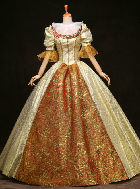 We Provide Gold Ball Gown Short Sleeve European Court Rococo Baroque Dress