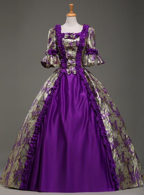 For Your Big Night Purple Ball Gown Satin Square Short Sleeve Antonietta Rococo Vintage Dress