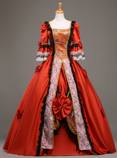 Available In Sizes 0-24 Red Ball Gown Satin Lace Square Short Sleeve Rococo Costume Dress