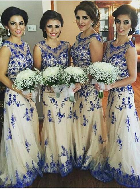Lace Bridesmaid Dress Long Bridesmaid Gown Royal Blue Bridesmaid Gowns