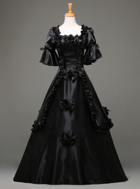 Come In All Styles And Colors Black Ball Gown Satin Short Sleeve Costume Masquerade Dress