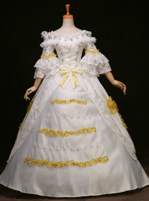 Best For You White Ball Gown Satin Lace Short Sleeve Antonietta Rococo Dress