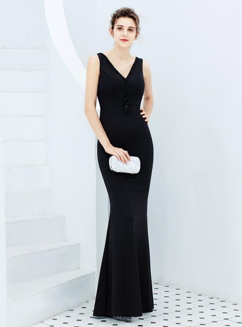 In Stock:Ship in 48 Hours Black Satin V-neck Beading Prom Dress