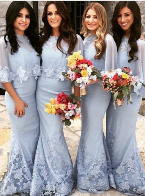 Long Mermaid Lace Tulle Scoop Floor length Bridesmaid Dresses