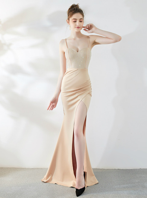 In Stock:Ship in 48 Hour Champagne Mermaid Spaghetti Straps Beading Prom Dress