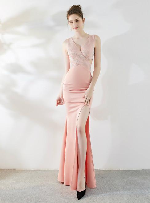In Stock:Ship in 48 Hours Red Mermaid V-neck Beading Prom Dress