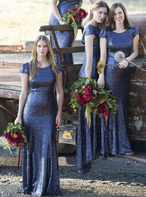 Blue Sequin Bridesmaid Dresses Mermaid Bridesmaid Dress V-Back bridesmaid dress