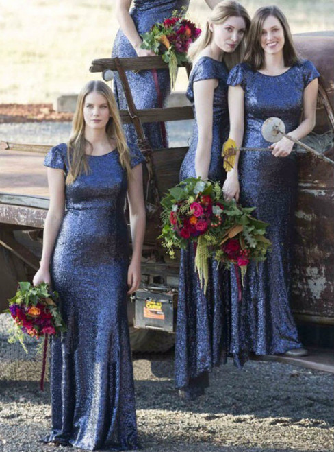 Blue Sequin Bridesmaid Dresses Mermaid Bridesmaid Dress V-Back bridesmaid dress