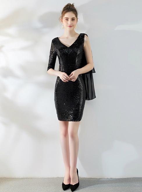In One Step In Stock:Ship in 48 Hours Black Sequins V-neck Mini Short Prom Dress