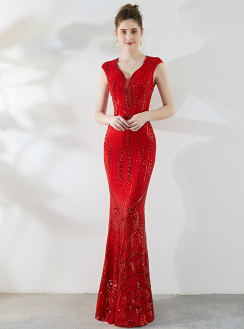 In Stock:Ship in 48 Hours Red Mermaid Sequins Cap Sleeve Crystal Prom Dress