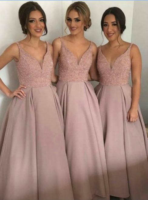 long A-line bridesmaid dress dusty rose bridesmaid dress