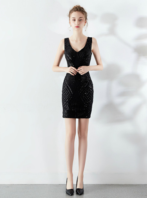 Looking For Cute And Stylish In Stock:Ship in 48 Hours Black Sequins V-neck Short Party Dress