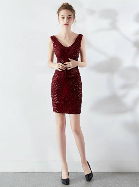 Shop Online In Stock:Ship in 48 Hours Burgundy Sequins V-neck Short Party Dress