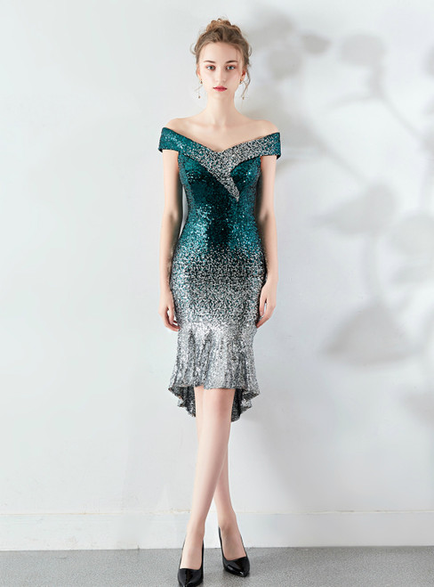 Shop An Amazing Selection Of In Stock:Ship in 48 Hours Green Silver Sequins Off the Shoulder Prom Dress