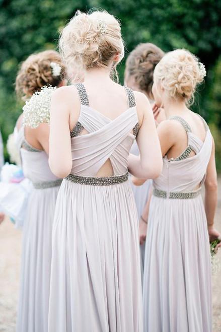 light gray bridesmaid dress long bridesmaid dress chiffon bridesmaid Dresses