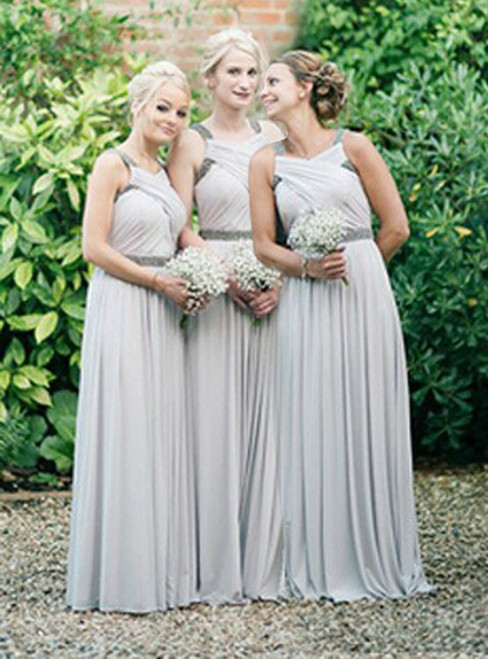 light gray bridesmaid dress long bridesmaid dress chiffon bridesmaid Dresses